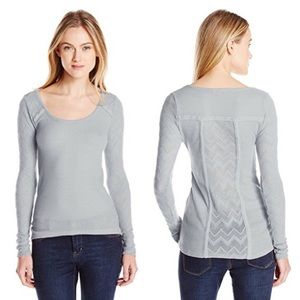 Lucky Brand Ginny Lace&Thermal Long Sleeve Grey M